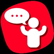 Imagen vectorial de persona con los brazos arriba y globo de diálogo con puntos suspensivos en su interior.
