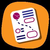 Imagen vectorial de hoja que simula tener texto y gráficos informativos.