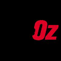 """Logotipo Cine The Oz, cinta de película negra, encima de ésta, la palabra """"The"""" en blanco y al lado derecho la palabra """"Oz"""" en color rojo."""