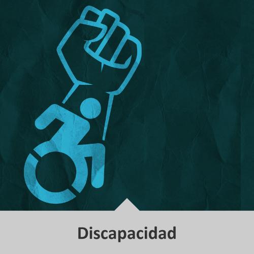 Vector de persona en silla de ruedas y encima de la persona un puño en alto.