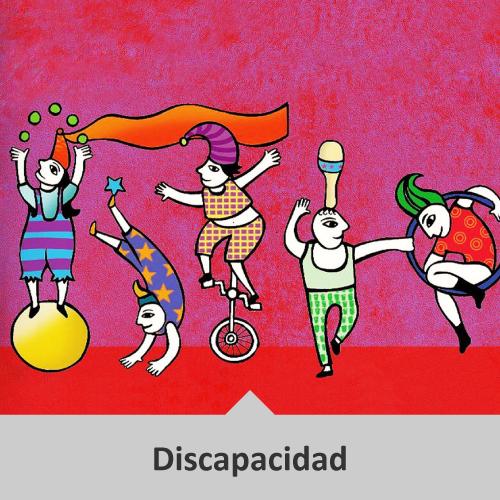 Dibujo a color de cinco circenses acróbatas, equilibristas y malabaristas en un fondo de color rojo. Temática: Discapacidad