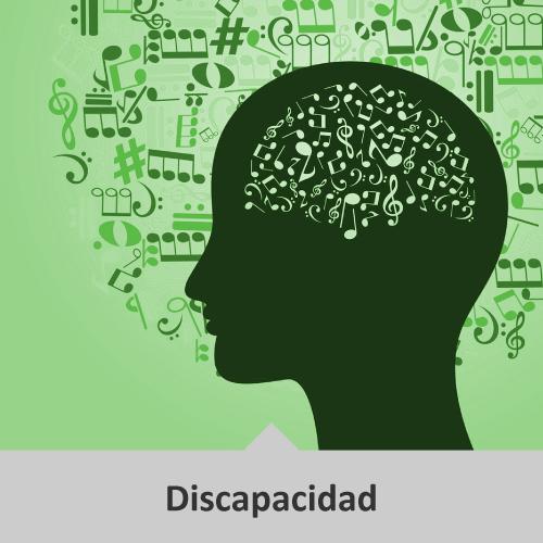 Silueta del perfil de una persona, y dentro de ésta diversas notas musicales que en conjunto simulan el cerebro. En el fondo de color verde, también se encuentran diversas notas musicales desordenadas. Temática: Discapacidad