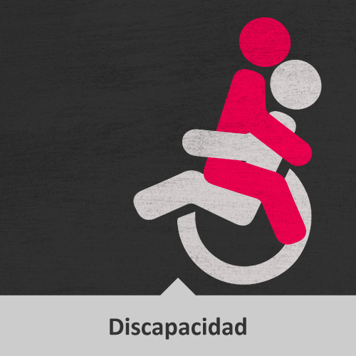 Vector de persona en silla de ruedas con otra persona encima abrazándolo. Temática: Discapacidad.